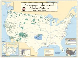 2010 US Census Map: American Indians and Alaska Natives. Image shows the United States with marked areas showing all the different American Indian Reservations, Off-Reservation Trust Lands, and Tribal Statistical Areas